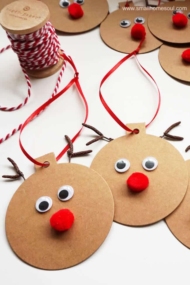 Rudolph gift tags on the table.