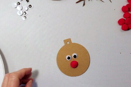 Rudolph Gift Tags with googly eyes and red pompom nose.