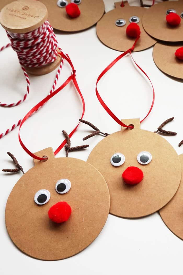 Rudolph gift tags easy christmas craft small home soul for Pinterest simple christmas crafts