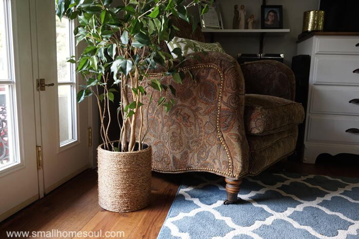 Rope Planter Basket by the window with a houseplant.