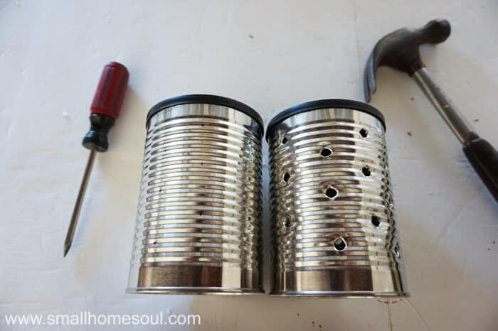 Making a recycled tin can lantern and planter is a great way to reduce, reuse, and recycle while making some great DIY decor for your garden or patio.