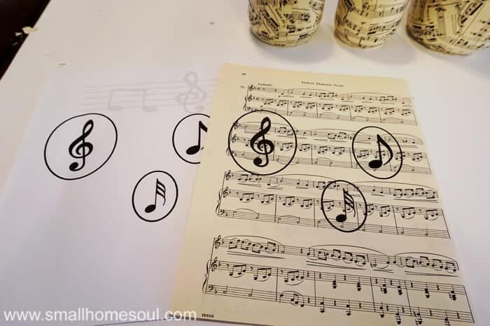 Printed music notes in circle on sheet music.
