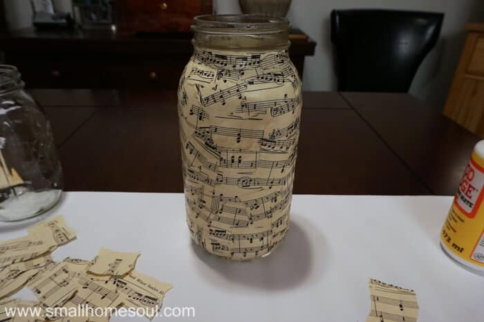 One sheet music mason jar vase completed.