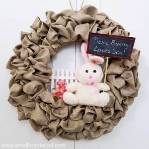 Update your seasonal wreath with some craft sticks and a Dollar Store bunny to create an adorable Easter Bunny Wreath everyone will love.