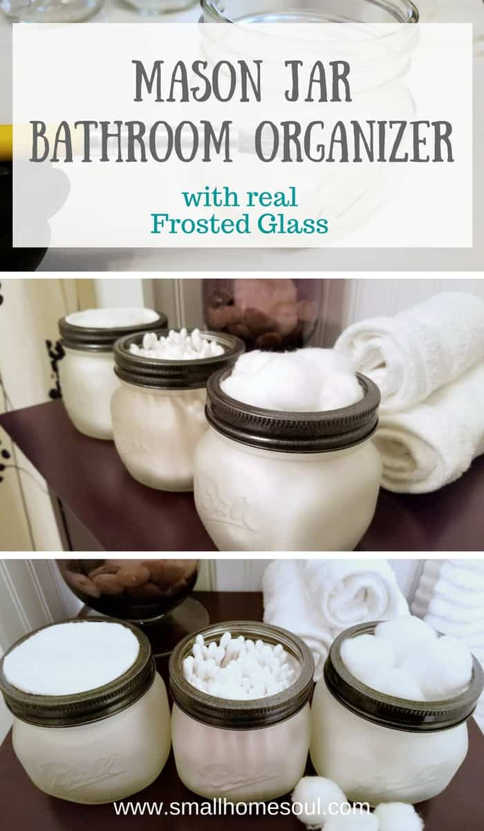 Use etching cream to make a beautiful mason jar bathroom organizer. Beautiful for any bathroom decor or style.