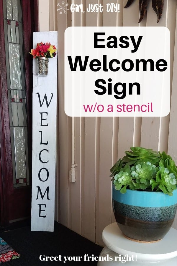 Easy DIY Welcome Sign on porch with green succulent in pot.