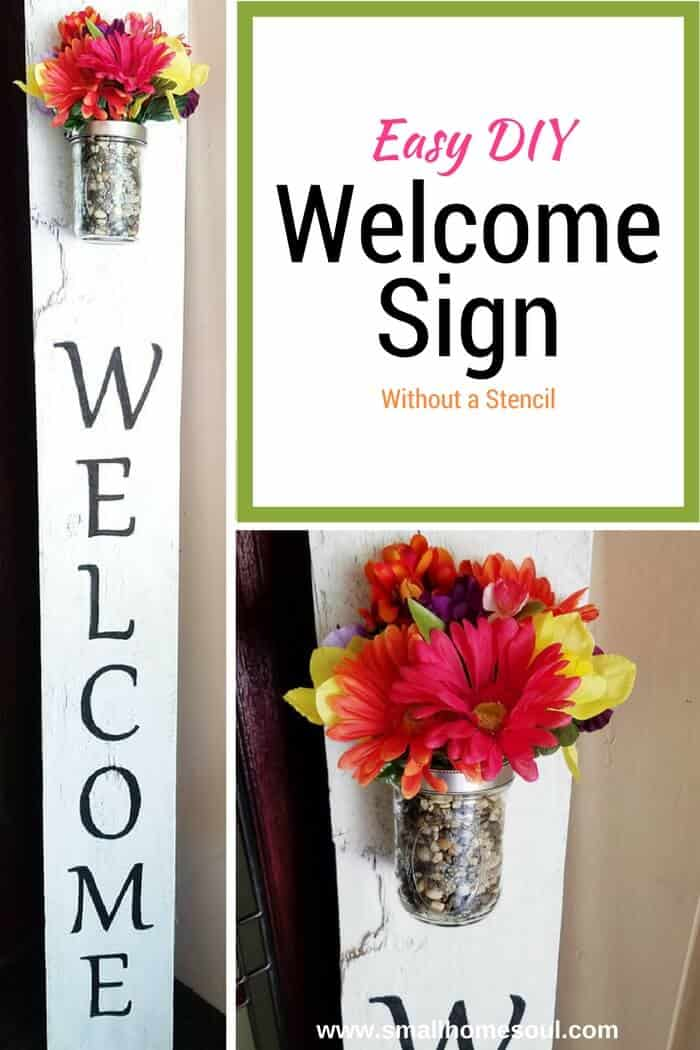 Adding a DIY Welcome Sign to your porch is a beautiful greeting for guests.