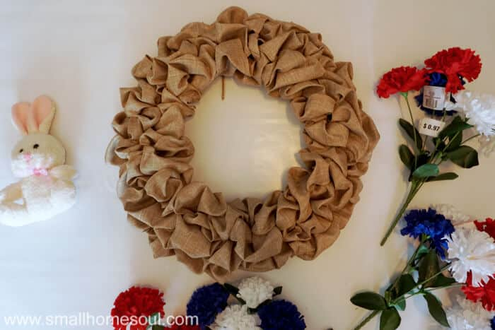 Make a July 4th Wreath from a deconstructed bubble wreath.