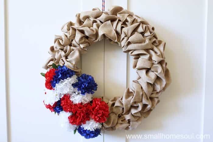 July 4th Wreath hung on a white door, beautiful for 4th of July.