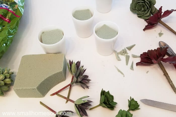 Gather your supplies for the milk glass succulent planter.