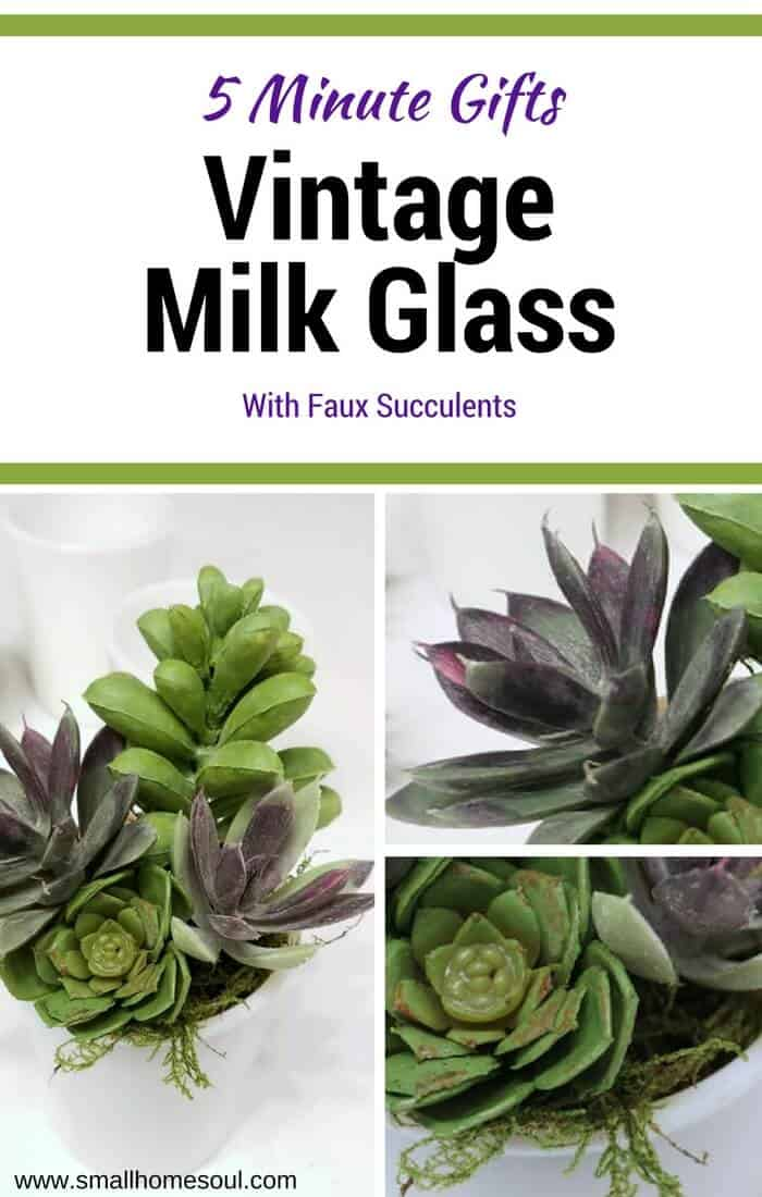 A vintage milk glass succulent planter will be a favorite of everyone who gets one as a gift. An easy 5 minute DIY craft.