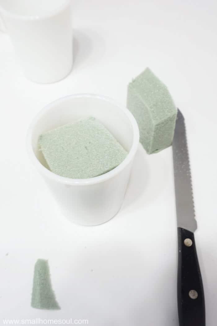 Dessert foam works great when making milk glass succulent planters.