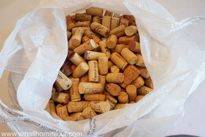 Bag of wine corks waiting to be turned into a wine cork board. Great for organization.