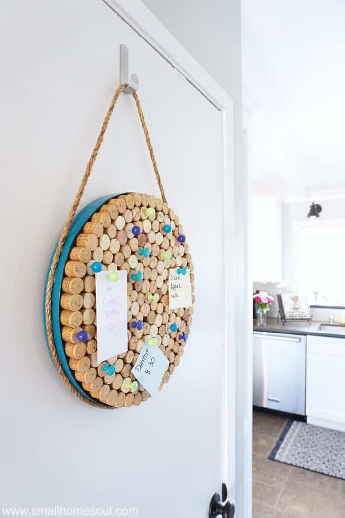 A wine cork board is perfect for jotting notes in the kitchen.