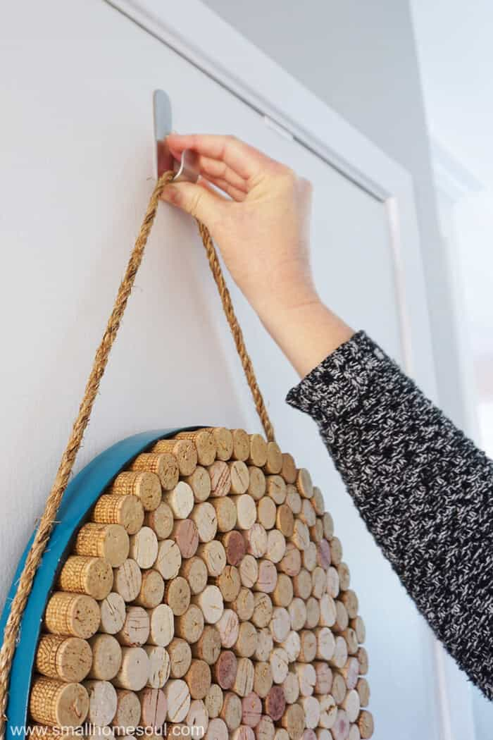 Hang DIY wine cork board with a Command Hook.