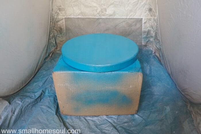 Wine cork board lid gets a fresh coat of paint.