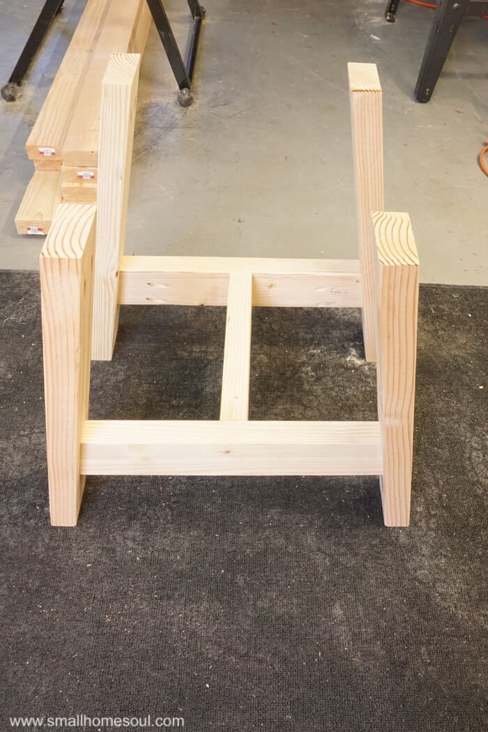2x4 Outdoor Table base after assembly