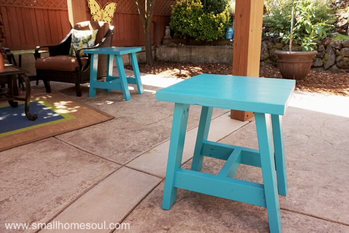 2x4 Outdoor Table is sturdy enough to double as extra seating.