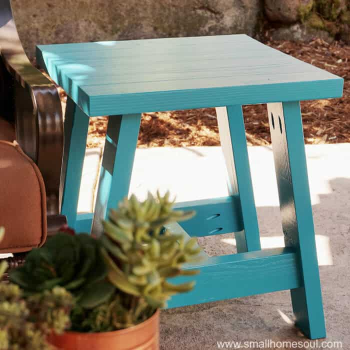 2x4 Outdoor Table is ready to hold a plate of BBQ or a cocktail on the patio.