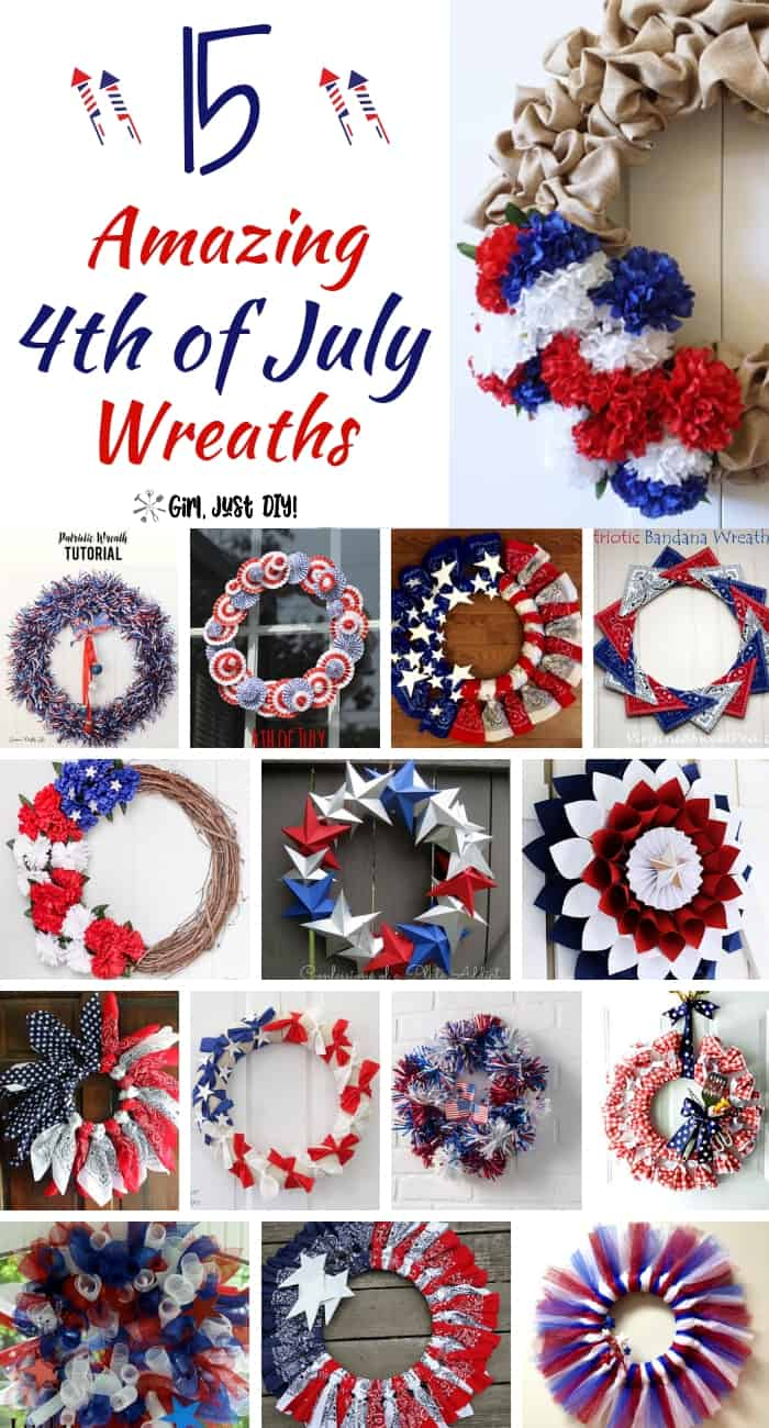 Collage of easy DIY patriotic wreaths for 4th of july.