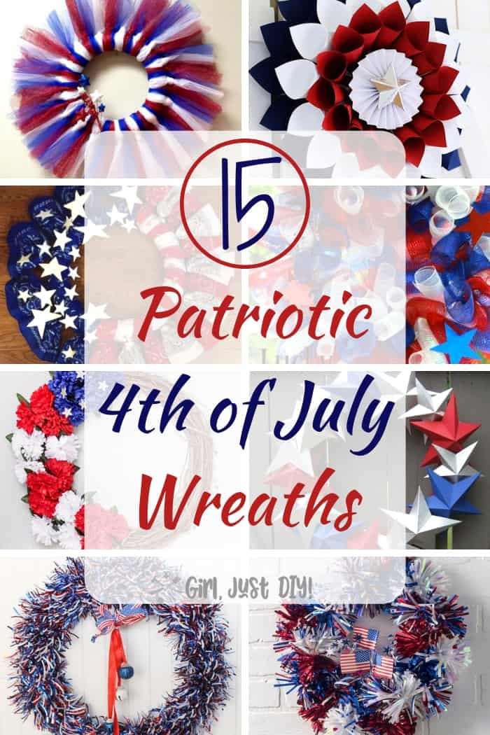 Collage of easy patriotic wreaths with eight pictures