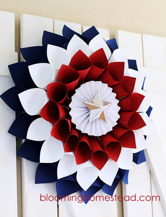Blooming Homestead's Easy Patriotic Wreaths from Paper.