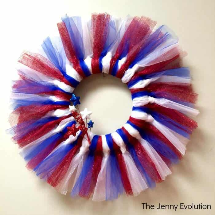 The Jenny Evolution's Easy Patriotic Wreaths in red, white and blue tulle.