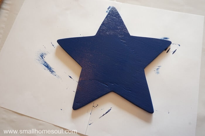 Deep blue paint on the star for the July 4th Star tray