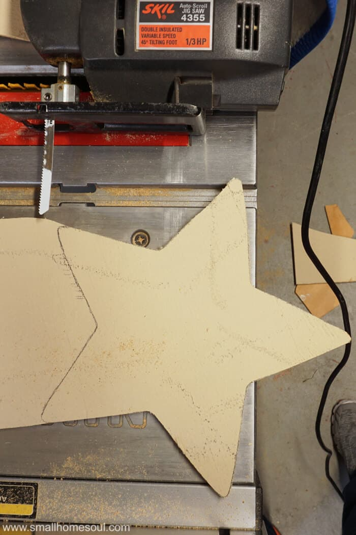 Using the jigsaw to cut the star for the July 4th Star tray.