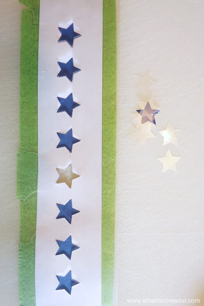 Finishing the stencil for the July 4th Star Tray.