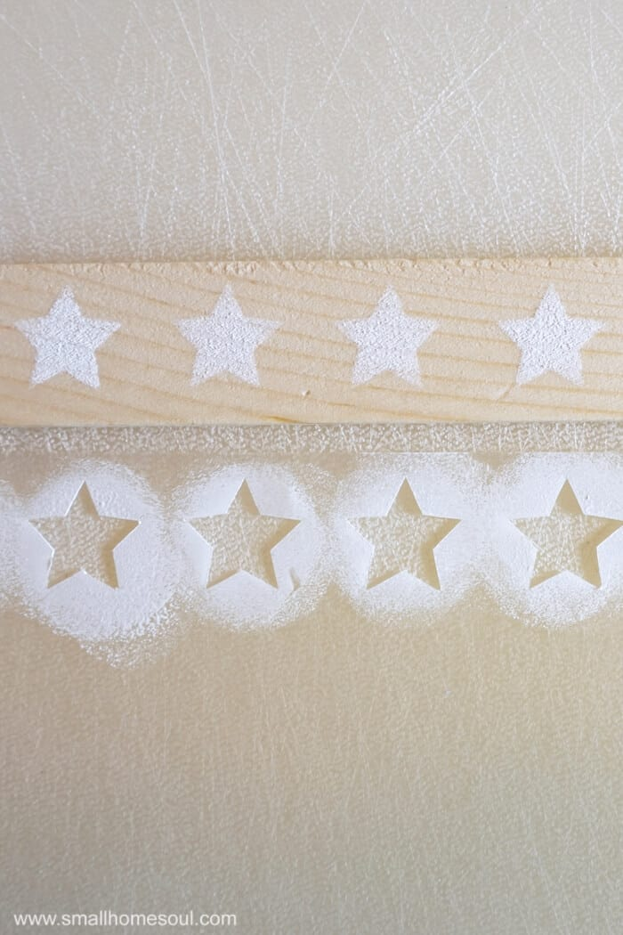 Testing the stencil for the July 4th Star Tray.