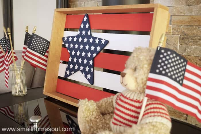 July 4th star tray and bear with flag.
