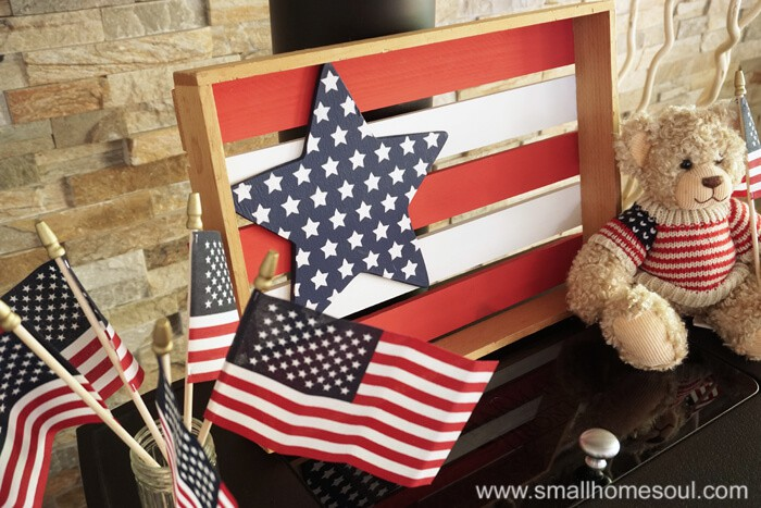 July 4th Star Tray with flags.