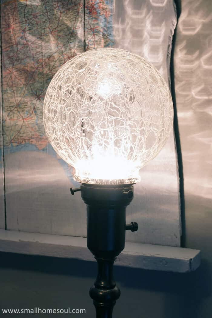 A crackle globe on a painted brass lamp is beautiful and interesting.