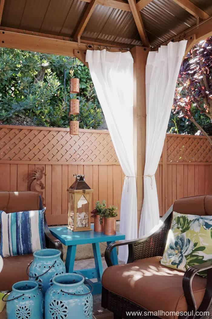 I love the curtains in my relaxing backyard retreat.