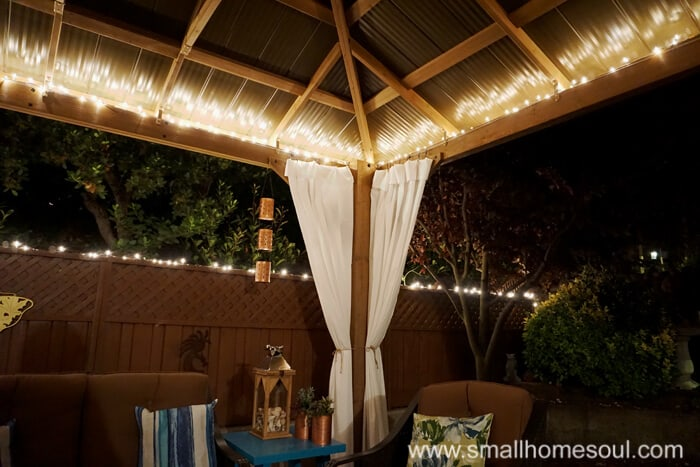Install christmas lights in your relaxing backyard retreat.