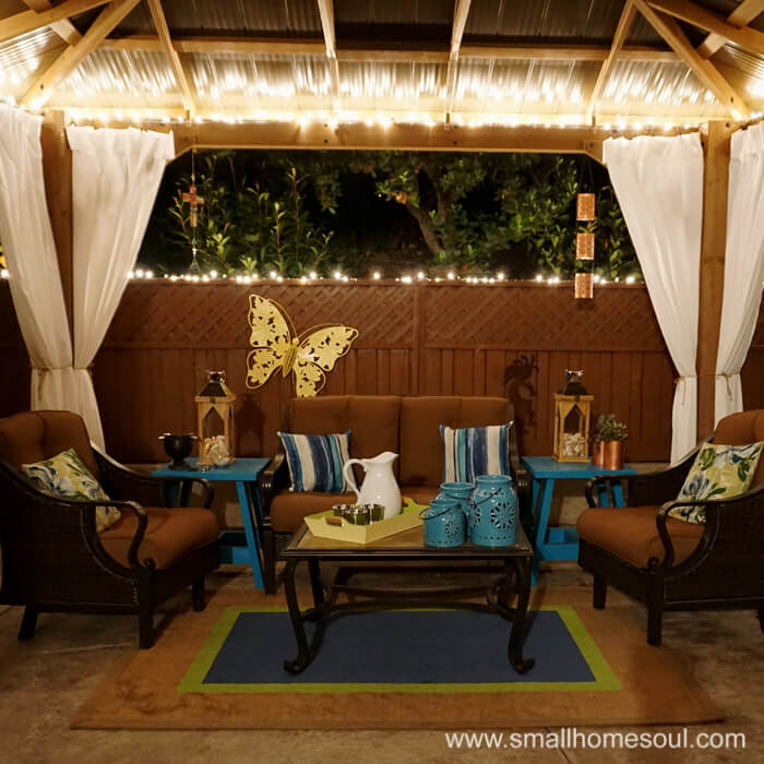 Light up your relaxing backyard retreat with Christmas lights.
