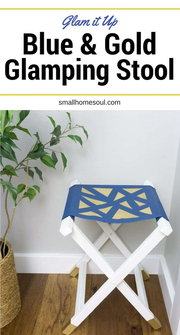 Update an old camping folding stool and give it some glam with gold. Perfect as a kids chair or footstool too.