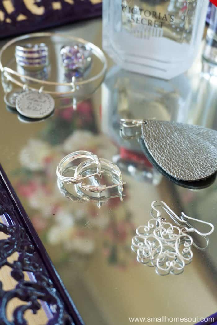 Favorite earrings on the jewelry tray.