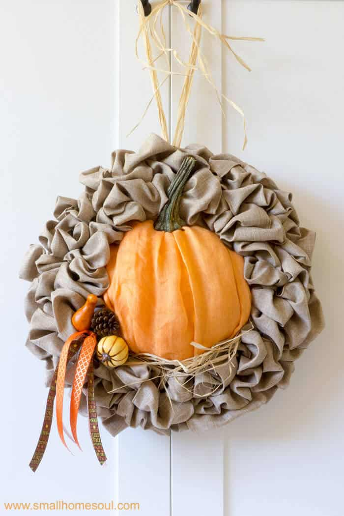 Faux pumpkins are great for Fall Decor Updates. Fall wreath pumpkin wreath.
