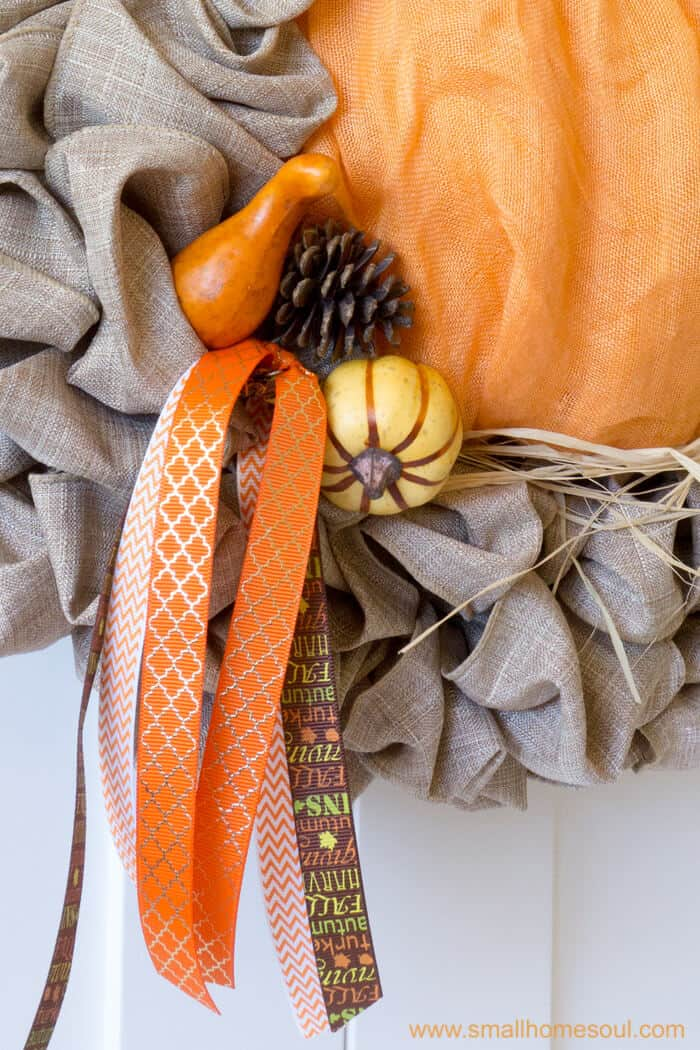 Fall decor updates with picks and ribbons. Fall wreath pumpkin wreath.