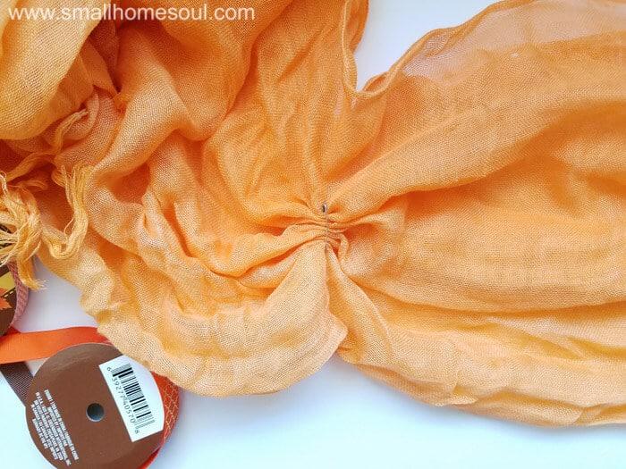 An orange scarf is perfect for a Fall decor update. Fall wreath pumpkin wreath.