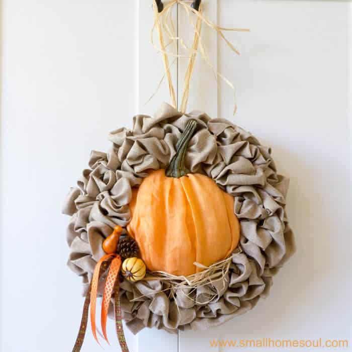 Finished seasonal wreath after Fall decor updates. Fall wreath pumpkin wreath.