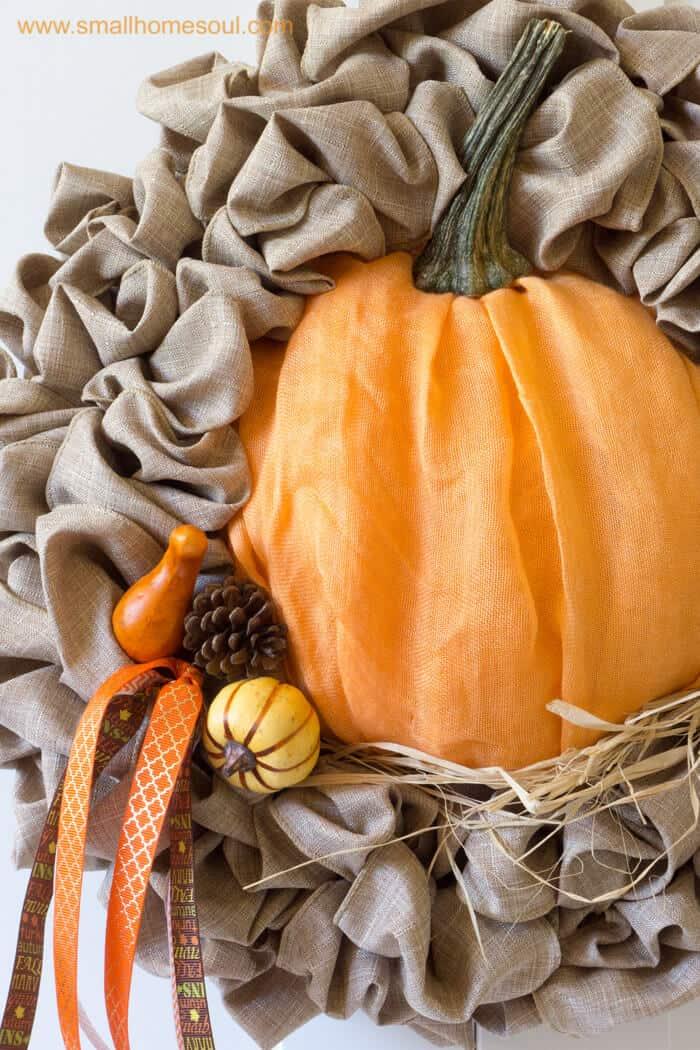 Insert picks during Fall decor updates for cute touches. Fall wreath pumpkin wreath.