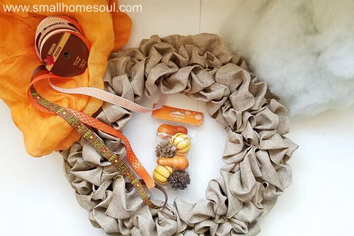 Gather supplies for Fall decor update projects. Fall wreath pumpkin wreath.