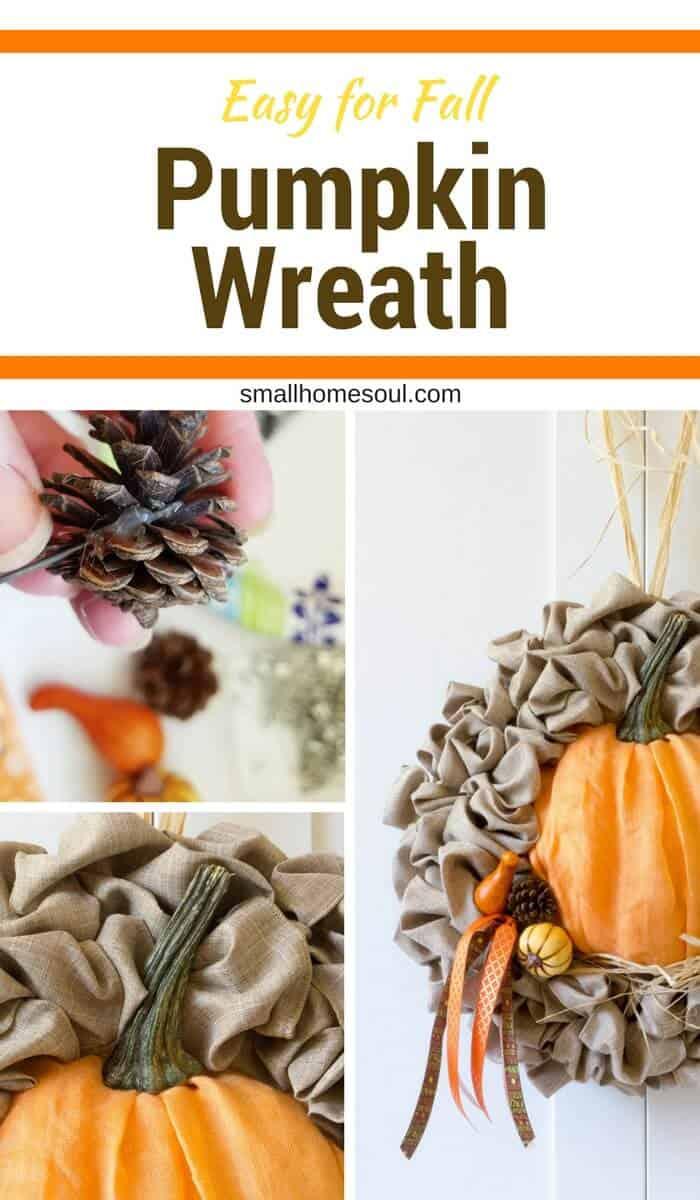 This beautiful Fall wreath is an easy fall decor update of a seasonal wreath. Fall wreath. Pumpkin wreath.