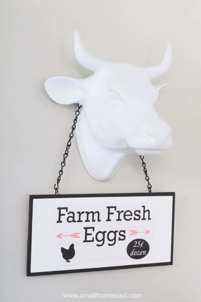 DIY Market Sign selling Fresh Eggs advertised by a bull.