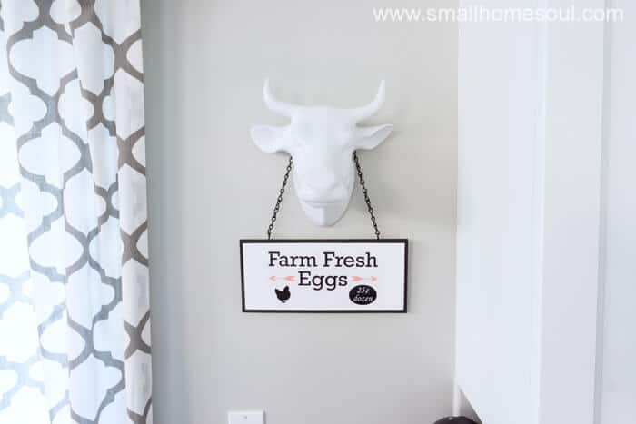 DIY Market Sign on Bull selling Farm Fresh Eggs.