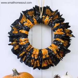Halloween Bandana Wreath hanging.