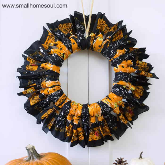 Halloween Bandana Wreath hanging.